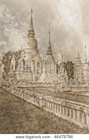 Vintage - Chedi In Wat Suandok , Chiangmai Thailand