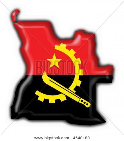 Angola Button Flag Map Shape