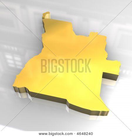 3D Golden Map Of Angola