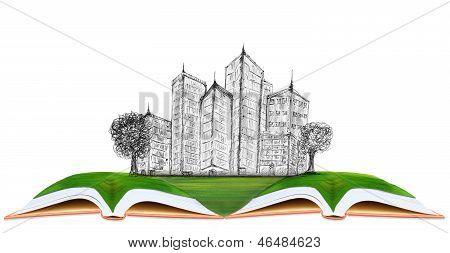 Sketching Of Modern Building On Green Grass Field