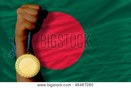 Gold Medal For Sport And  National Flag Of Bangladesh