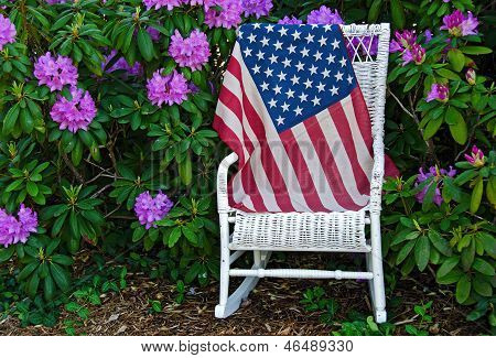 American flag on a rocking chair