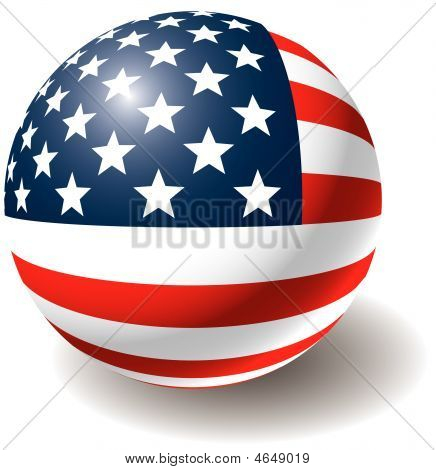 Usa Flag Texture On Ball.
