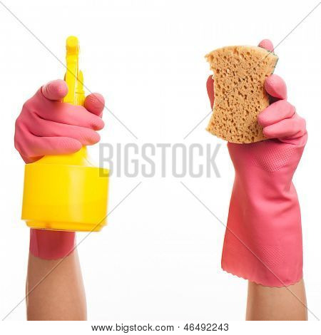 Hand in a pink glove holding spray bottle and sponge isolated over white background
