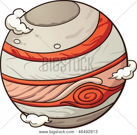 Cartoon Jupiter. Vector clip art illustration with simple gradients. All in a single layer.