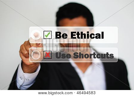 Male Professional Choosing To Be Ethical Instead Of Using Shortcuts