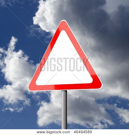 Road Sign White Red Triangle Blank With Copy Space