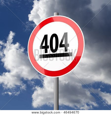 Road Sign White Red With Word 404