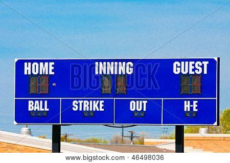 Baseball Scoreboard With Blue Sky