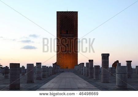 Hassan Tower At Dusk. Rabat, Morocco