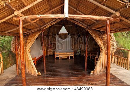 Geodome Wood And Thatch Camping Hut