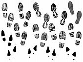 stock photo of sole  - Set of vector illustration silhouettes shoe prints  - JPG
