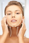 stock photo of collagen  - picture of beautiful woman ready for cosmetic surgery - JPG