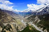 Himalayas Mountains River Valley With White Peaks