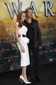 BERLIN - JUN 4: Angelina Jolie and Brad Pitt at the 'WORLD WAR Z' Premiere at Sony Center on June 4,