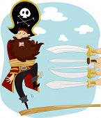 stock photo of raider  - Illustration of Swords Pointing on Male Pirate Walking the Plank for Execution - JPG