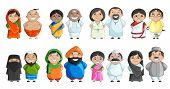 image of priest  - vector illustration of Indian couple of different culture - JPG