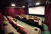 MOSCOW - SEPTEMBER 4: Special hall with soft sofas in cinema in GUM, on September 4, 2012 in Moscow,