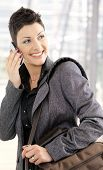 Businesswoman Calling On Mobile