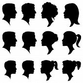 image of cameos  - Vector Set of Female and Male Adult and Child Cameo Silhouettes - JPG