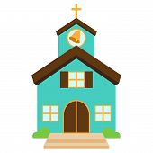 stock photo of chapels  - Vector Illustration of a Cute Church or Chapel - JPG