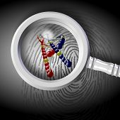 picture of dna fingerprinting  - DNA strand coming out from fingerprint under magnifying glass - JPG