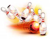 Постер, плакат: Красный шар для боулинга врезаться в контакты