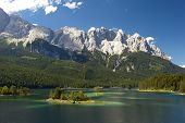 stock photo of bavarian alps  - lake and alps mountains in bavaria germany - JPG