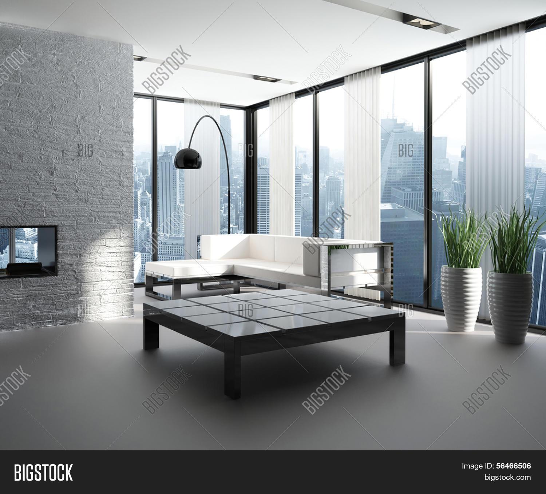 Een 3d rendering van moderne woonkamer interieur stock foto ...