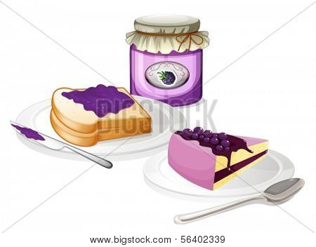 Illustration of the jam and bread on a white background