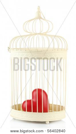 Heart in decorative cage, isolated on white