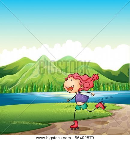 Illustration of a young girl rollerskating near the river