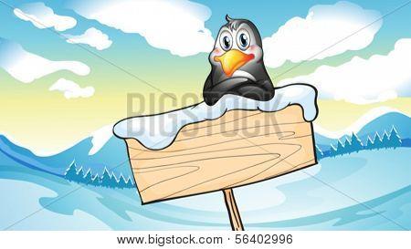 Ilustración de un pingüino que se inclina sobre el letrero de madera vacío