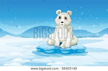 Illustration of a polar bear in a snowy area