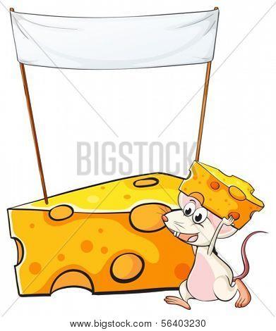 Ilustración de un ratón con una loncha de queso por debajo de la bandera de vacía sobre un fondo blanco