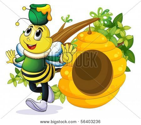 Illustration of a bee with a pot above its head near the beehive on a white background