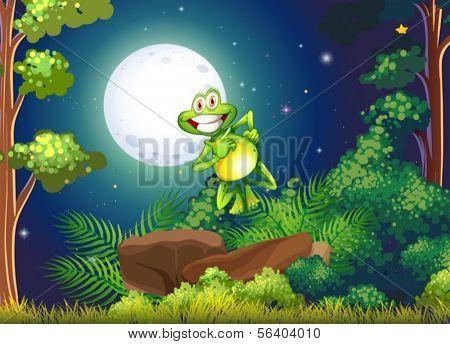 Ilustración de una rana sonriente en el bosque