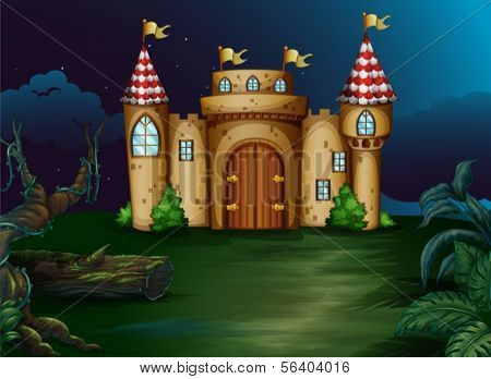 Illustration of a castle at the forest