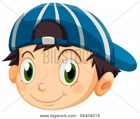 Illustration of a head of a young boy with a cap on a white background