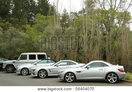 Mercedes-Benz cars presented as part of the Mercedes-Benz Drive Program in Meadowood Hotel,St.Helena