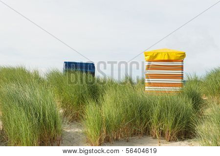 Typical chairs at the beach of German wadden island Borkum