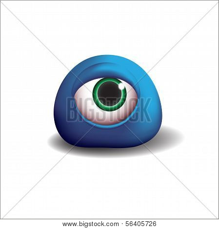 3d  blue eye monster