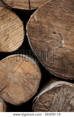 Sawn Logs In A Woodpile