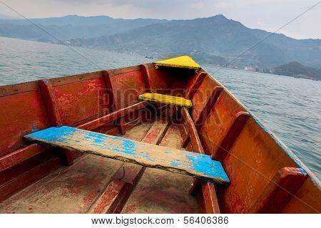 Barque on Phewa Lake in Pokhara, Nepal