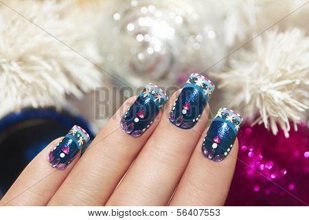 Winter blue manicure.