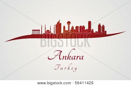 Ankara Skyline In Red