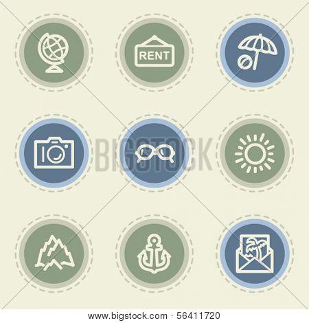 Travel web icon set 5, vintage buttons