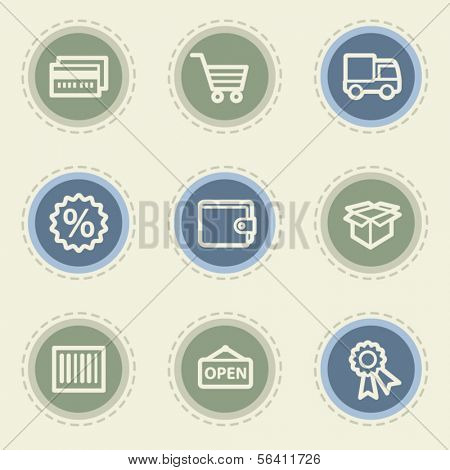 Shopping web icon set 2, vintage buttons