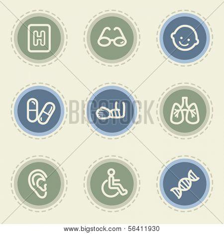 Medicine web icon set 2, vintage buttons