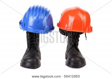 Hard hats and working boots.